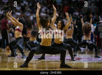 Miami, Florida, USA. 7th Nov, 2013. The Miami Heat Dancers perform during a timeout at AmericanAirlines Arena in - Stock Photo