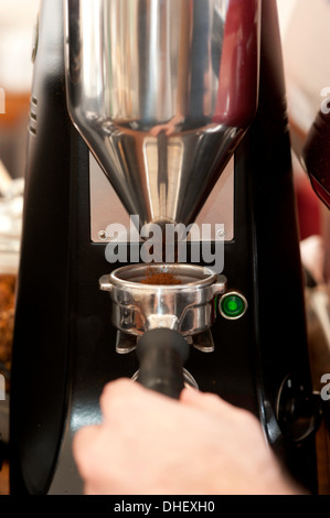 Barista collecting ground coffee - Stock Photo
