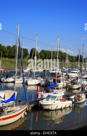 Marina and Somme River from Quai Lejoille, St Valery sur Somme, Somme, Picardy, France - Stock Photo