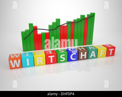 Wirtschaft- Series Words out of Letterdices - Stock Photo