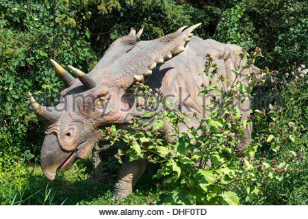 Toronto: Dinosaurs at Canada's Wonderland amusement park and tourist attraction - Stock Photo
