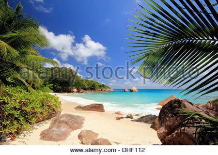 Secluded beach, Praslin Island, Seychelles - Stock Photo