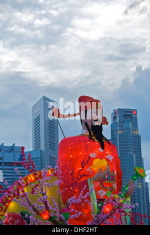 18 metre tall God of Wealth, Cai Shen, at the River Hongbao 2013, Singapore. - Stock Photo