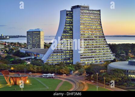Brazil, Rio Grande do Sul, Porto Alegre, Administration Center of Rio Grande do Sul, building, pyramide, architecture, - Stock Photo