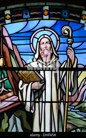 Saint Benoit Stained Glass Window Church of Thomas Becket Avrieux Maurienne Savoie France - Stock Photo