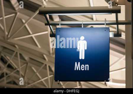 The Sign for Men's Lavatory Male Bathroom in a Public Building Business Place - Stock Photo