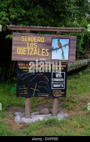 Entrance to Sendero los Quetzales hiking trail in western Chiriqui Province Republic of Panama - Stock Photo