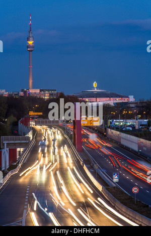 city skyline of dortmund germany motorway autobahn a40 tv tower stock photo royalty free. Black Bedroom Furniture Sets. Home Design Ideas