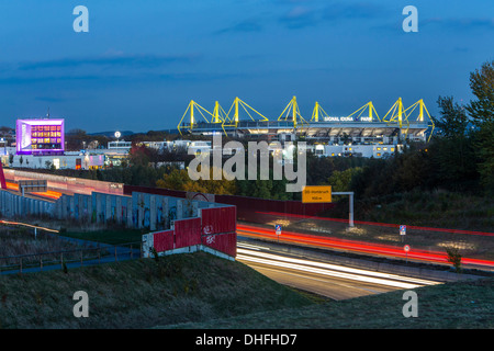 city skyline of dortmund germany motorway autobahn a40 football stock photo royalty free. Black Bedroom Furniture Sets. Home Design Ideas
