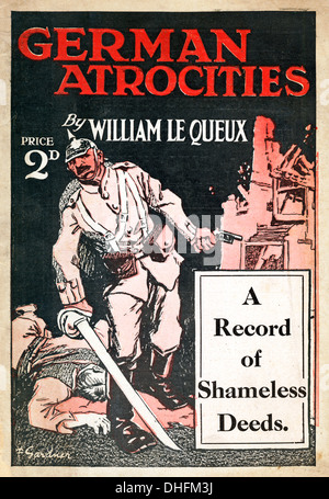 German Atrocities, 1917 Cover of a British Great War propaganda booklet, A Record of Shameless Deeds on the Western - Stock Photo