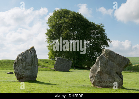 Part of the stone circle at Avebury, Wiltshire on a summer's day. - Stock Photo