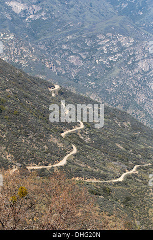 View of Highway 180 Kings Canyon from Hume Lake Road, Sequoia National Forest, California, USA. - Stock Photo