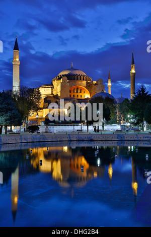 Hagia Sophia reflected in pool, Istanbul,Turkey - Stock Photo
