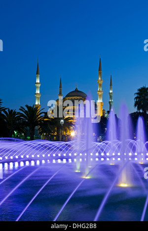 Fountain and Blue Mosque, Istanbul, Turkey - Stock Photo