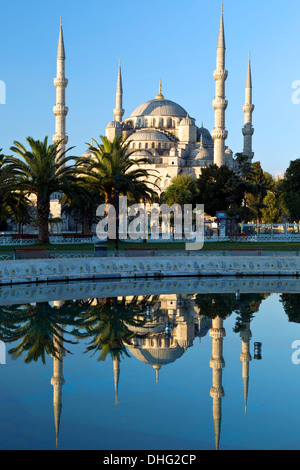 Blue Mosque reflected on pool, Istanbul, Turkey - Stock Photo