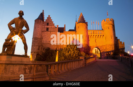 ANTWERP - SEPTEMBER 4: Steen castle and statue of Lange Wapper by Albert Poers from year 1953 - Stock Photo