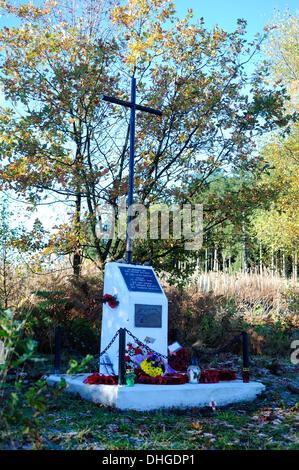 Calverton,Nottinghamshire,UK.10TH November 2013.Polish cross memorial ,On the 13th of October 1940 a Polish air - Stock Photo
