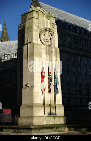 The Cenotaph in Manchester, UK on Remembrance Sunday, November 10th 2013 - Stock Photo