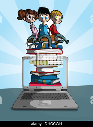 Illustrative image of children sitting on stacked books coming out from laptop representing online learning - Stock Photo