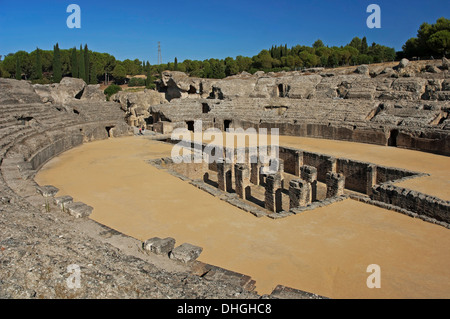 Amphitheater, Roman ruins of Italica - 2nd century, Santiponce, Seville-province, Region of Andalusia, Spain, Europe - Stock Photo