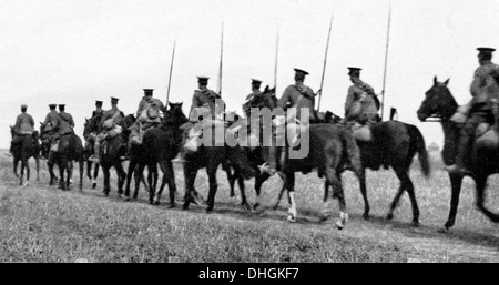 British Cavalry Retreat from Mons, 1914 photograph of the fallback before the German advance in August - Stock Photo