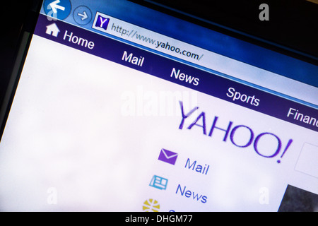 Yahoo website displayed on a computer screen Yahoo is a multinational Internet corporation globally known for its - Stock Photo
