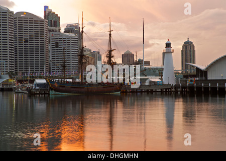 Storm Clouds Approach Darling Harbour at Sunrise, Sydney Australia. - Stock Photo