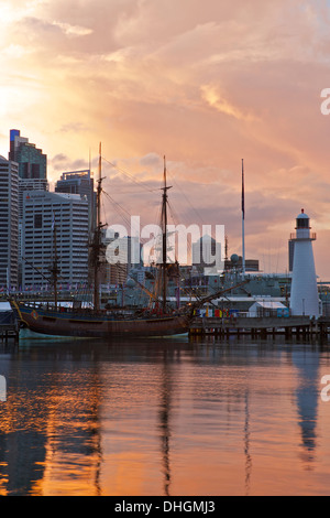 Tropical Storm Clouds Approach Darling Harbour at Dawn, Sydney Australia. - Stock Photo