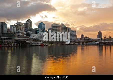 Storm Clouds Gather Over Darling Harbour at Dawn, Sydney Australia. - Stock Photo
