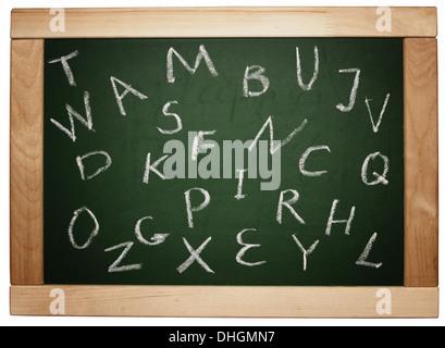 english letters handwritten on blackboard isolated on white - Stock Photo