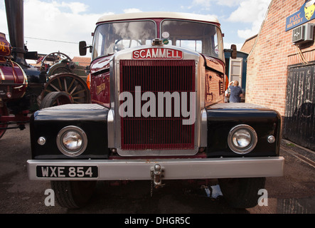 Scammell steam lorry on show at a steam rally in Heacham, England. - Stock Photo