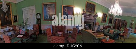 Panorama of the Green Room, Dunham Massey, NT property, Altrincham, Cheshire, England UK - Stock Photo