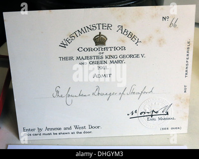 Ticket for 1911 coronation king George V Queen Mary admit countess dowager of Stamford from Dunham Massey NT Altrincham - Stock Photo