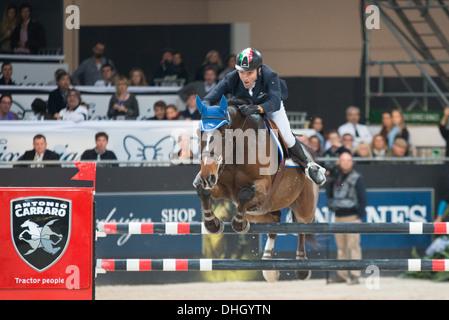 Verona, Fiera Verona, 09.11.2013, JUMPING VERONA 2013 - LONGINES FEI WORLD CUP, Moneta, Luca Maria - Neptune Brecourt - Stock Photo