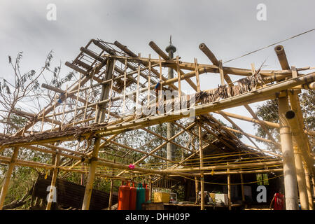 BORACAY, PHILIPPINES - NOVEMBER 9 2013: A building completely stripped off its roof by Super Typhoom Haiyan / Yolanda - Stock Photo