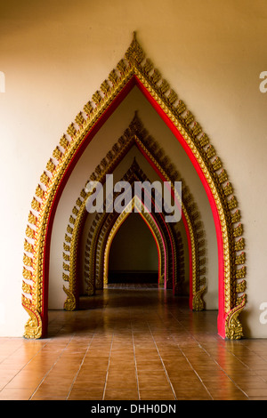 ... It has a multi tunnel door in the thai church at Thailand. - Stock Photo & Traditional Thai style church door art decorated with pieces ...