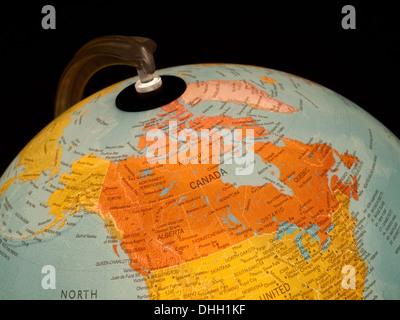 A view of Canada on a beautiful, illuminated globe. - Stock Photo