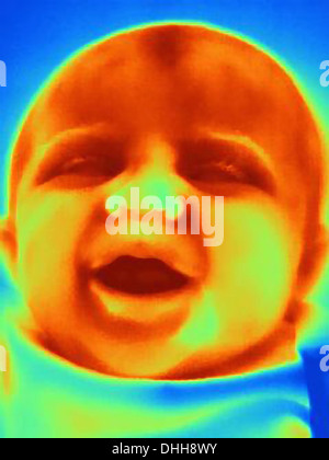 Thermal image of three month old baby - Stock Photo