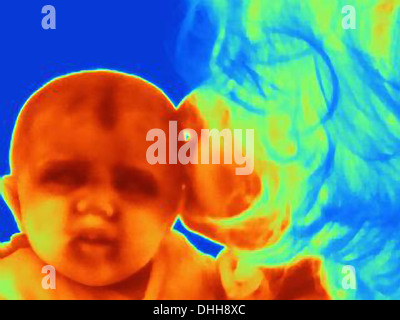 Thermal image of three month old baby and mother - Stock Photo