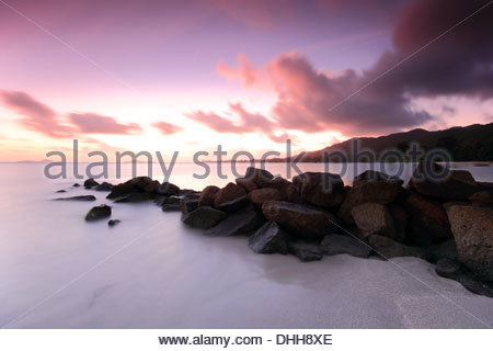 Sunset at Praslin, Seychelles - Stock Photo