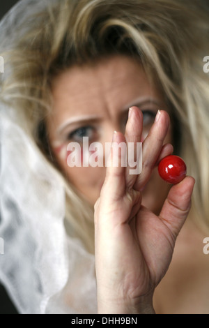blond woman, prepared for carnival - Stock Photo