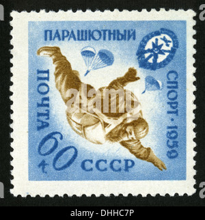 parachuting, USSR, Mail USSR,1959 year,post mark,stamp, - Stock Photo