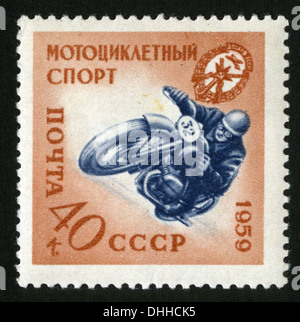 USSR, Mail USSR,1959 year,post mark,stamp, Motorcycling - Stock Photo