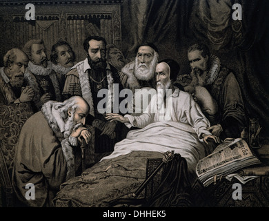 John Calvin (1509-1564). French theologian and reformer. Last moments of Calvin. Engraving, 1882. - Stock Photo