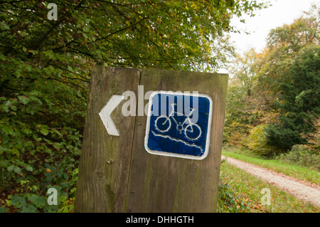 cycle route sign in the country, off road - Stock Photo