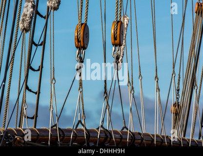 Rigging of an old sailing ship, Wismar, Mecklenburg-Western Pomerania, Germany - Stock Photo