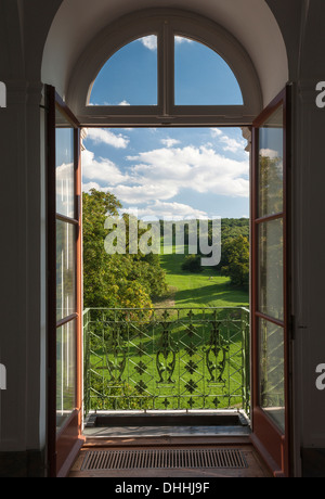 Ettersburg Castle and Gardens near Weimar, view from a castle window towards Puecklershlag, the palace avenue, part - Stock Photo