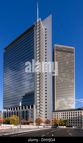 Commerzbank and Tower 185, European Quarter, Frankfurt am Main, Hesse, Germany - Stock Photo
