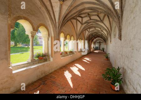 Cloister, former Collegiate Church of St. John the Baptist, Steingaden, Pfaffenwinkel region, Upper Bavaria, Bavaria, - Stock Photo