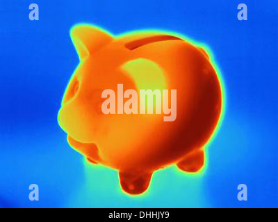 Thermal photograph of piggy bank - Stock Photo